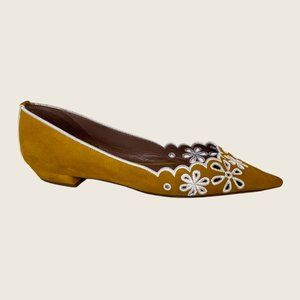 Tabitha Simmons Suede Pointed Toe Embroidered Flat